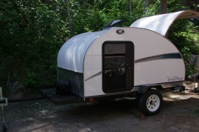 Northern Teardrop Trailer with optional cargo rack, longer tongue