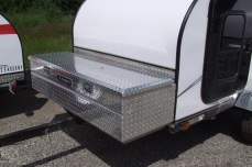 Optional 60x18x20 Diamond plate cargo box c/w integral keyed lock, weatherstrip, self opening strut